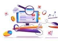 Agencia de marketing - computadora y lupa